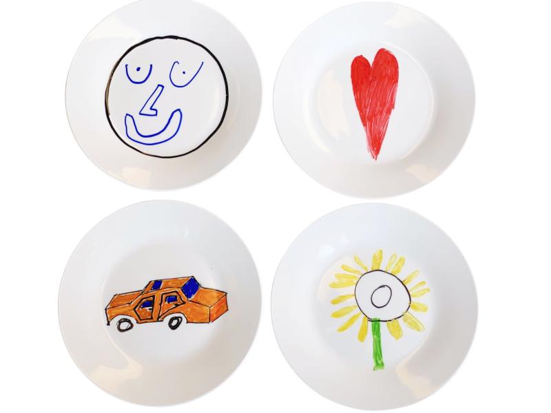 How we Montessori hand drawn ceramic plate child made for Christmas)