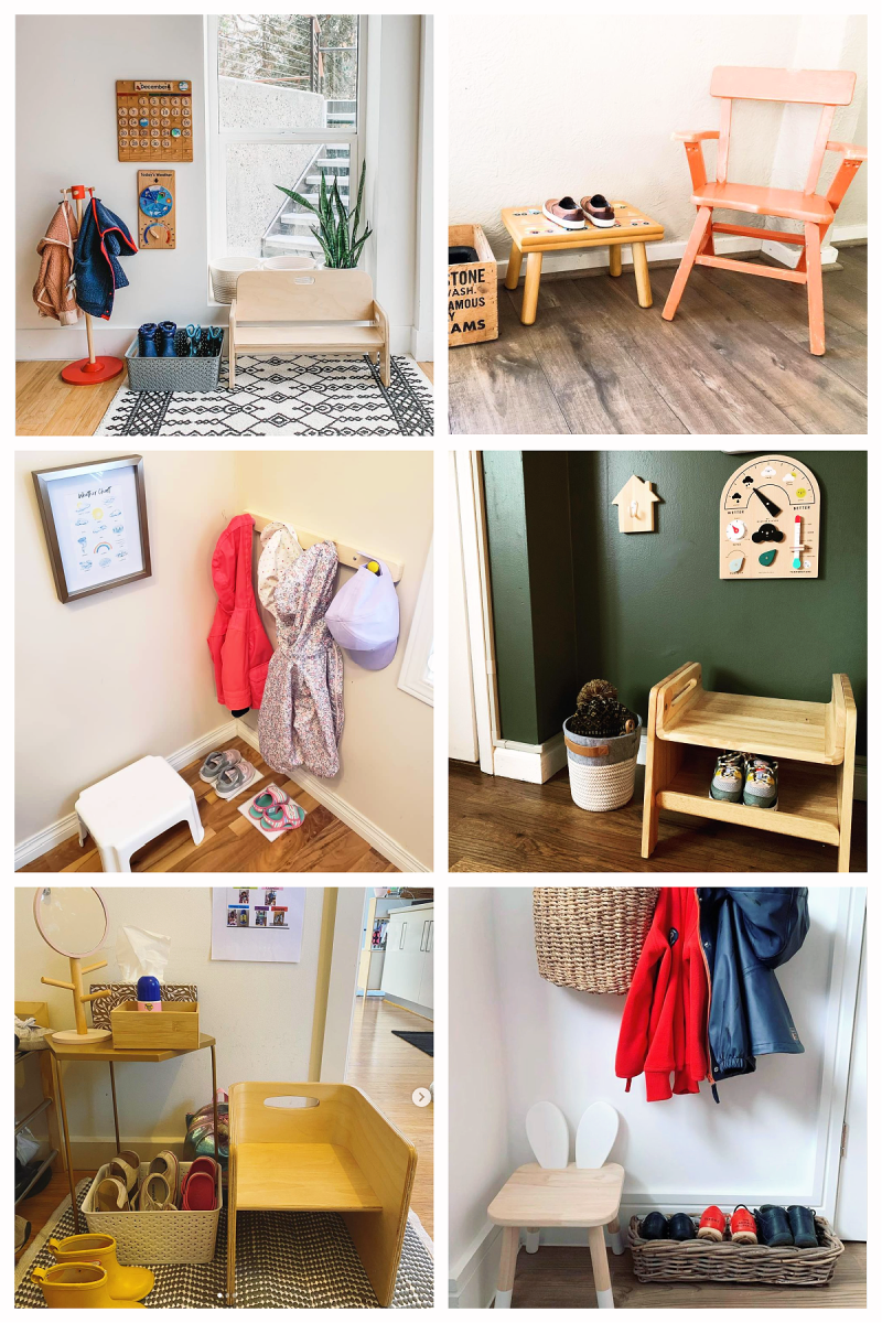 Montessori entryway examples and ideas shoes  coat hooks (3)