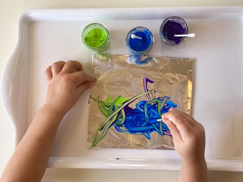 Q tip painting at How we Montessori