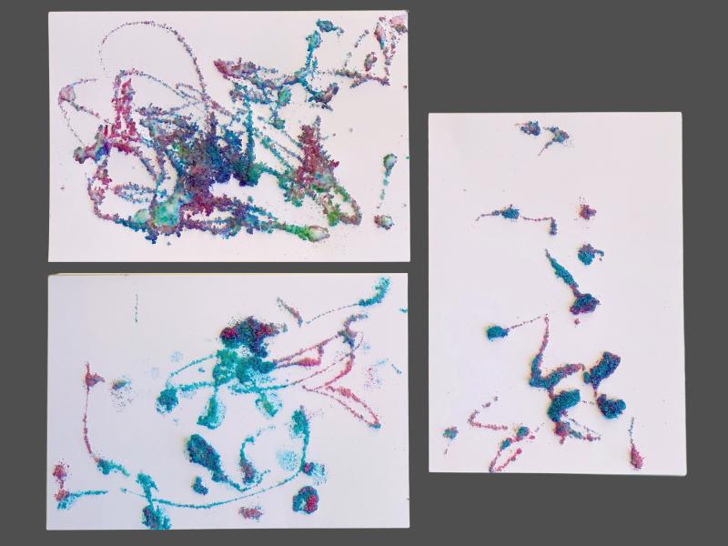 How we Montessori glue salt art activity by three year old Otto