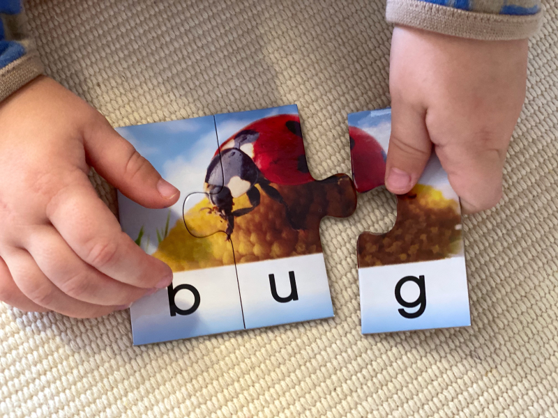 CVC first word puzzle at How we Montessori
