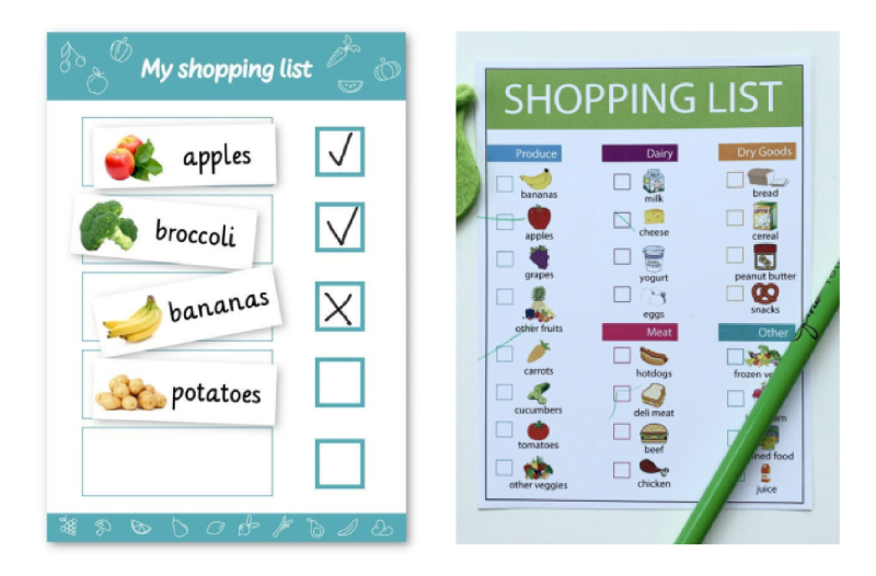 Visual shopping list ideas at How we Montessori