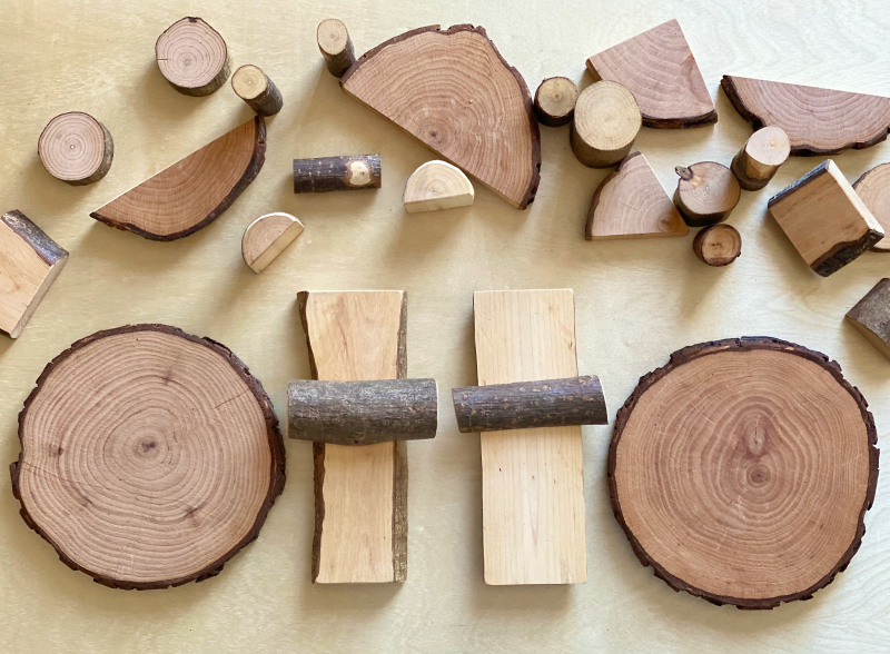 Tree blocks and branch slices at How we Montessori