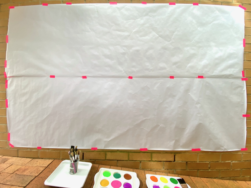 Wall large scale messy painting at How we Montessori