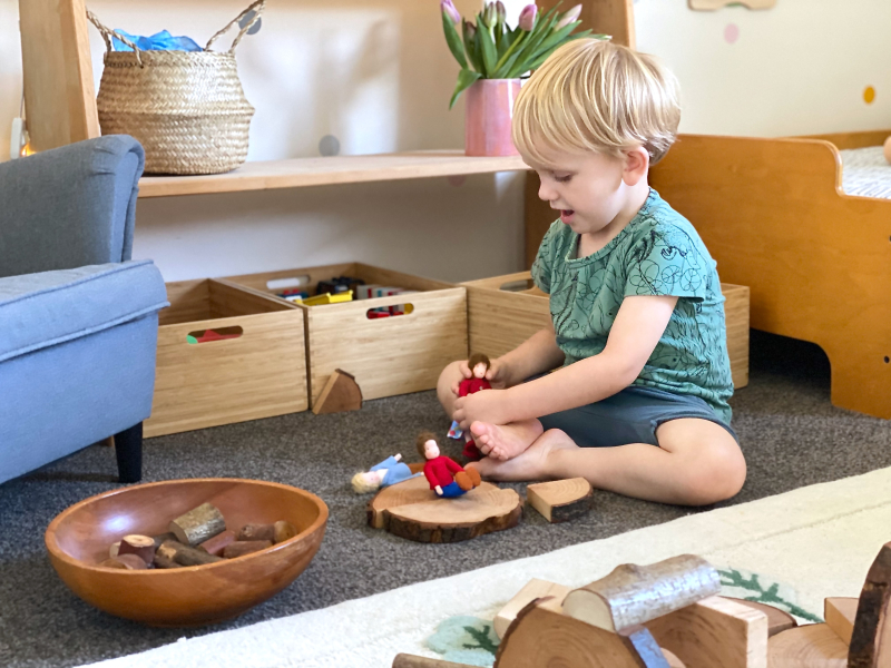 Otto playing Montessori bedroom