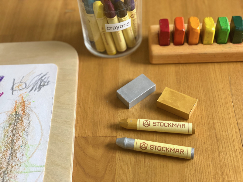 Metallic gold and sliver stockmar crayons at How we Montessori