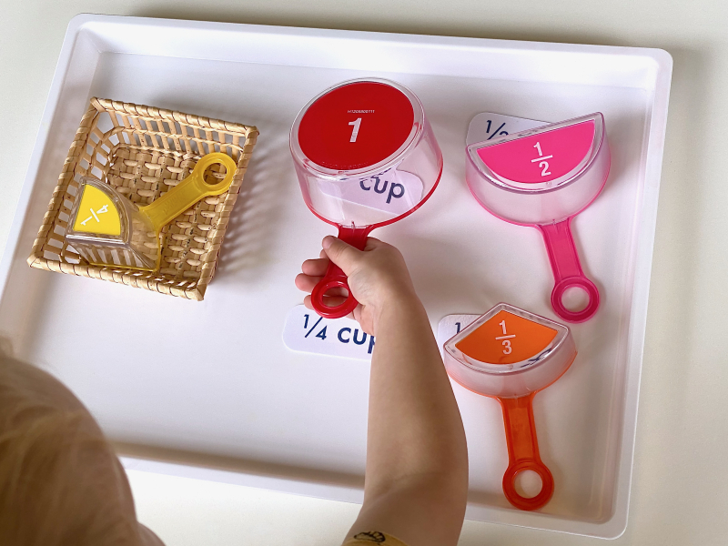 Matching measuring cups at How we Montessori