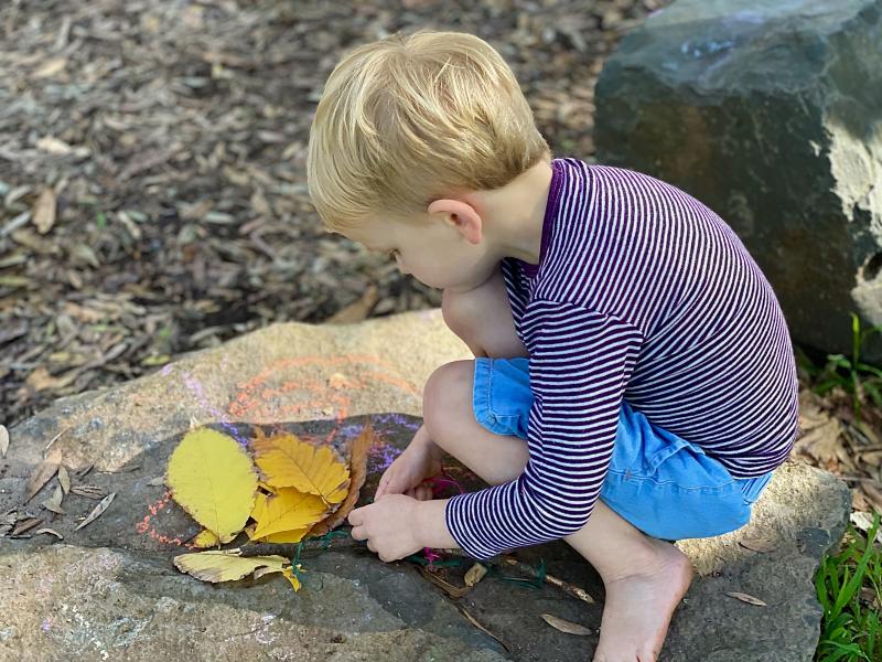 Otto tying knots at Forest School  Bush School Centennial Park Sydney at How we Montessori