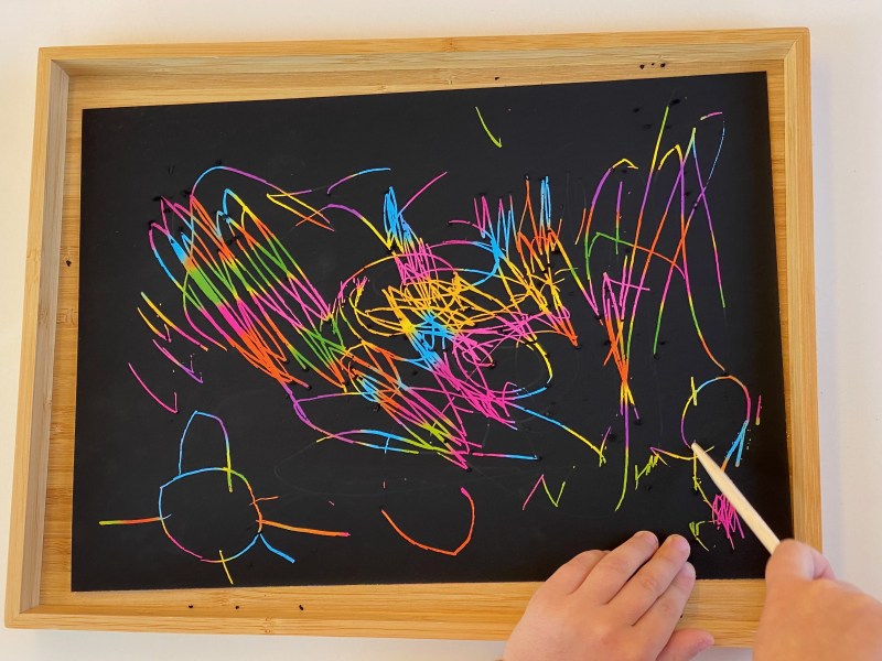 Scratch paper activity at How we Montessori