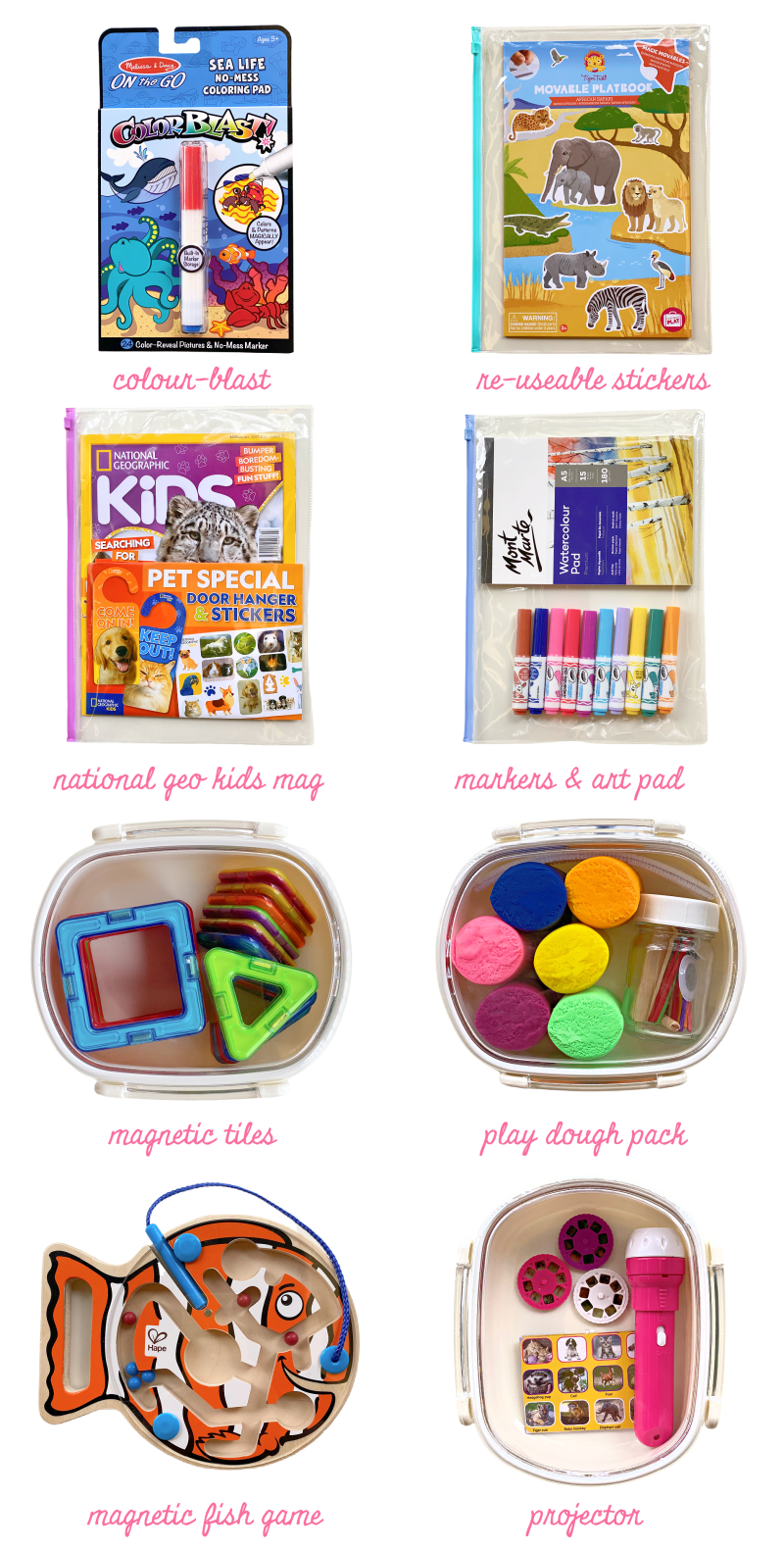 Activity kits for travel and waiting rooms at How we Montessori for preschoolers