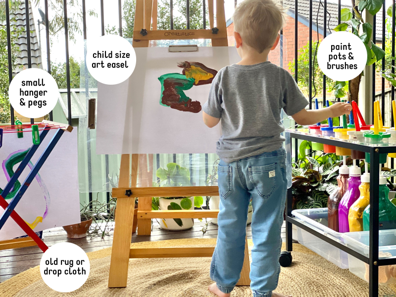 Montessori paint station easel for Montessori at home preschool toddler