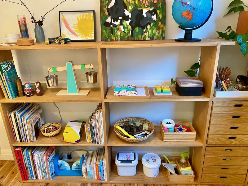 Practical Life shelf Montessori play room at How we Montessori