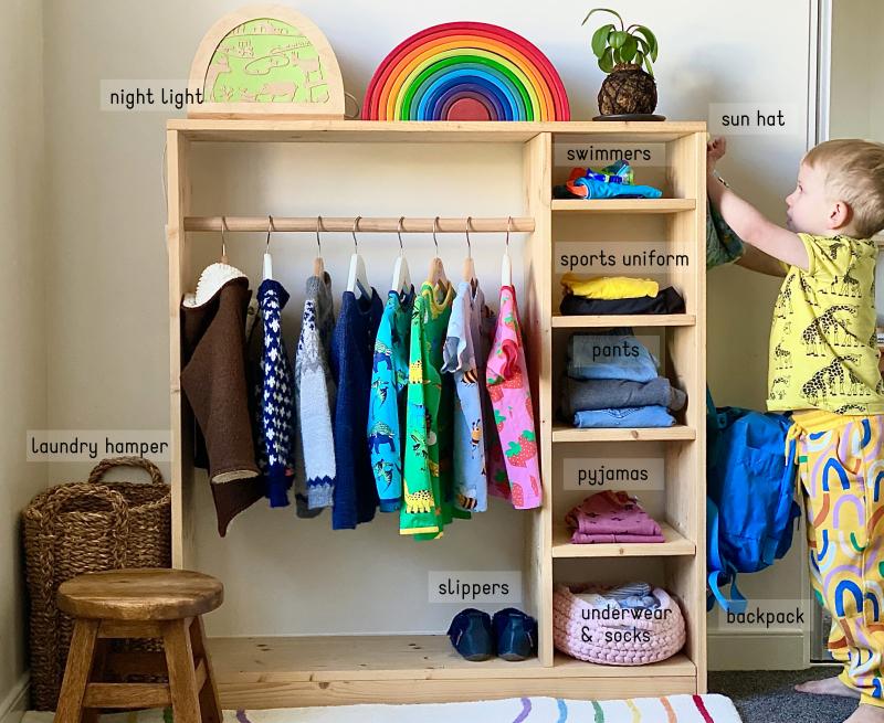 Montessori child size wardrobe at three years australia