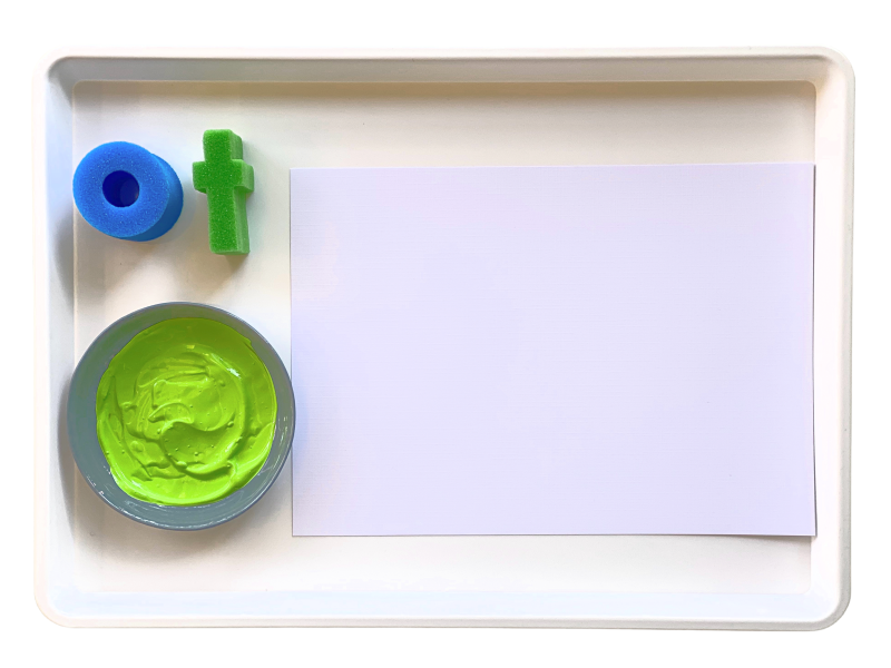 Alphabet paint stampers how we montessori white tray (1)