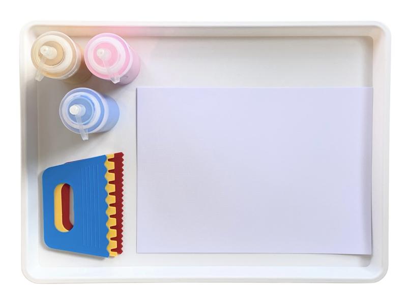 Paint scrapers at How we Montessori art activity (2)