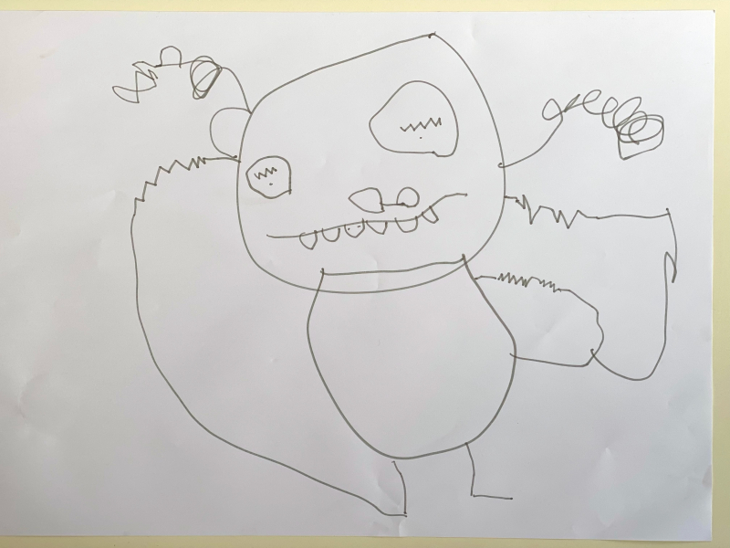 Otto's drawing of mummy at 3yrs 9months. July 2021 (1)