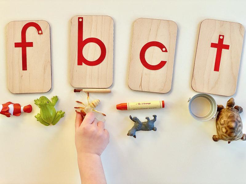 Sandpaper letter sound sorting at how we Montessori