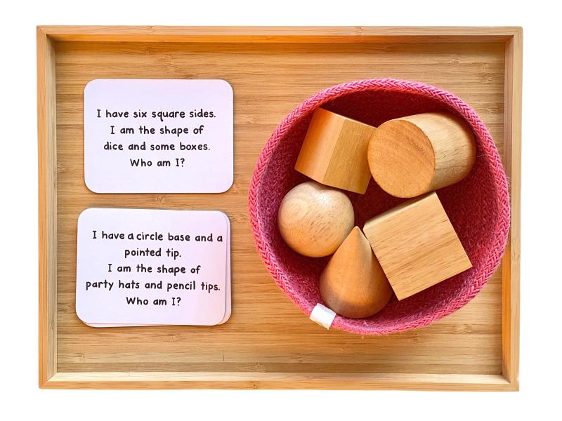 Geometric shapes who am I riddle at How we Montessori preschool (1)