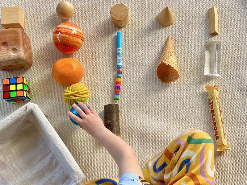 Geometric shape sorting at How we Montessori household objects