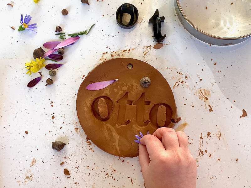 Clay name plate with nature collage at How we Montessori (1)