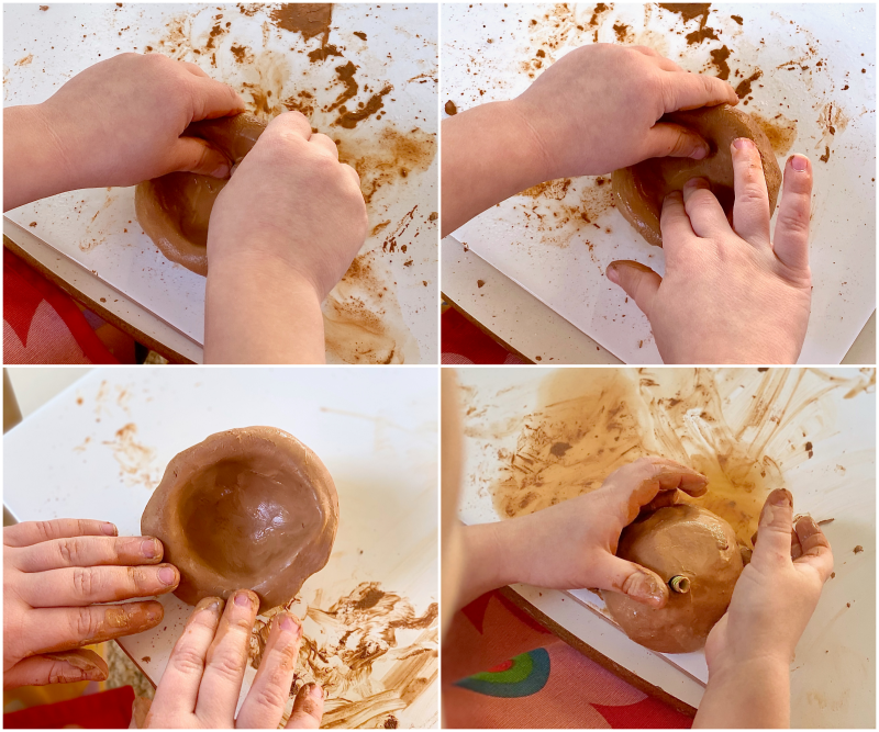 Pinch pots with kids at How we Montessori