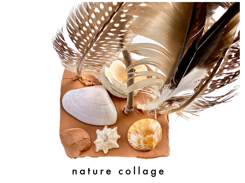 Clay nature collage at How we Montessori feathers shells