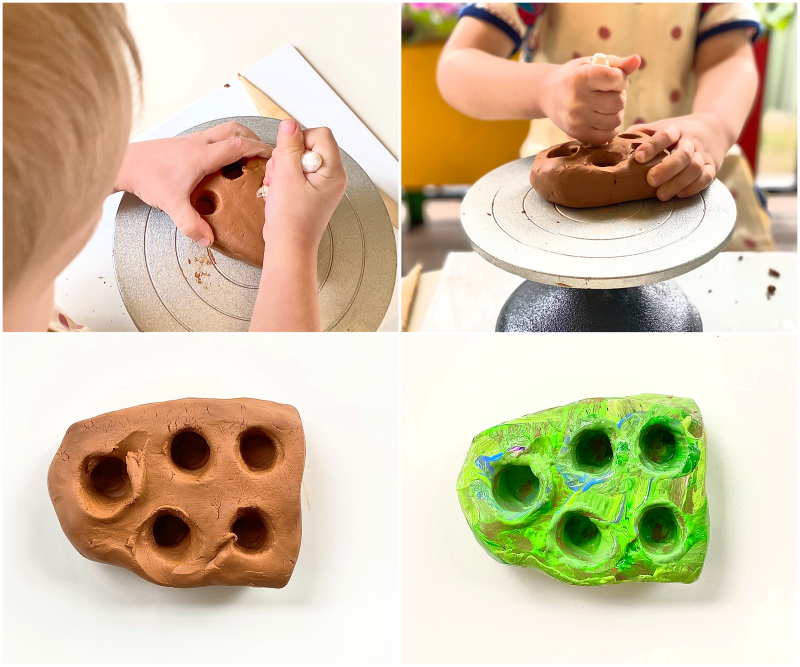 Clay crayon holder with kids at How we Montessori at three year old