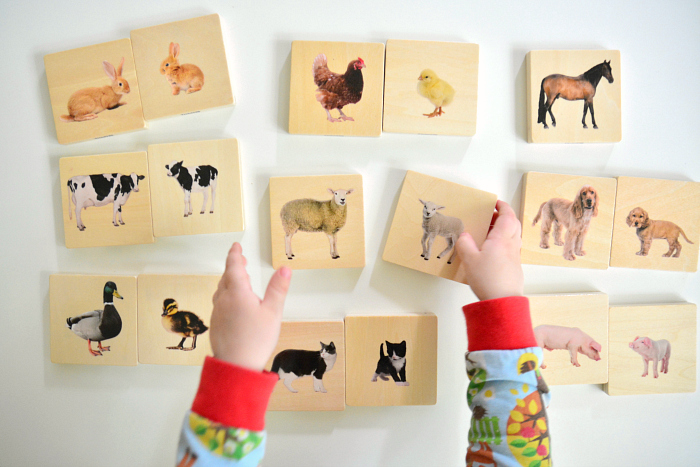 Match baby adult parent animals at How we Montessori