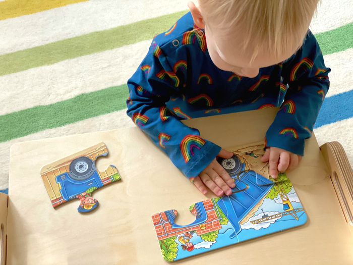 Four piece puzzles at How we Montessori