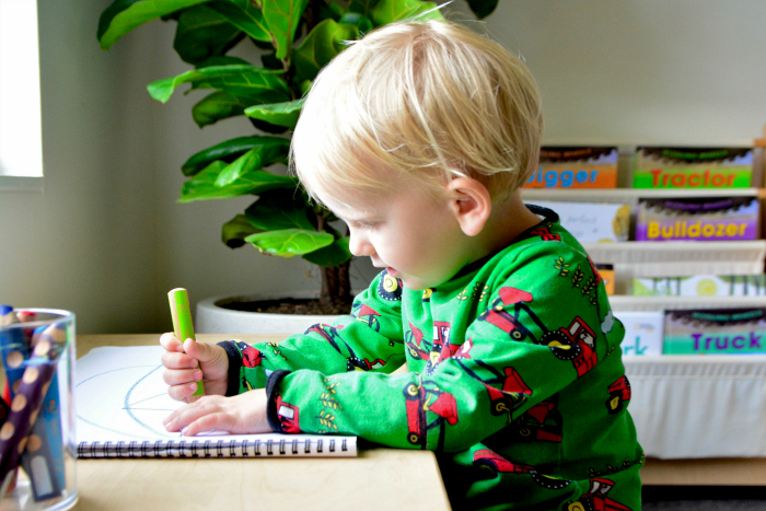 Drawing with pencils at How we Montessori