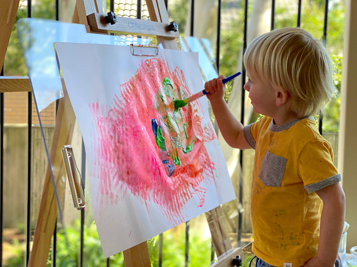 Try painting at an easel at How we Montessori