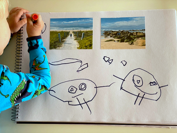 Nature journalling at two years at How we Montessori