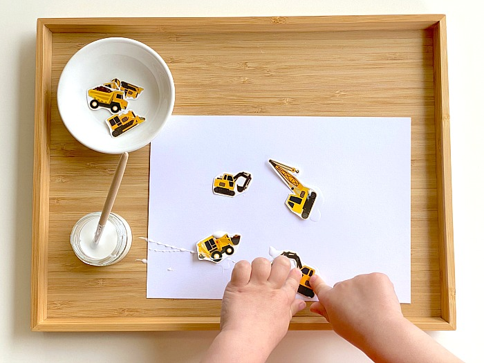 Pasting shapes at How we Montessori