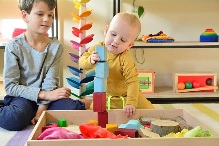 Stacking blocks 15 months at How we Montessori