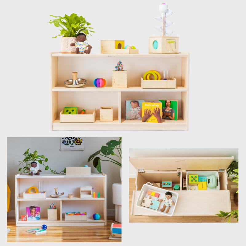 Lovevery play shelf at How we Montessori storage