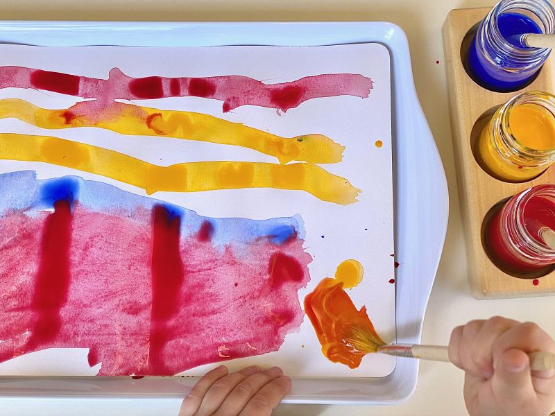 Colour mixing with water colour paint at How we Montessori