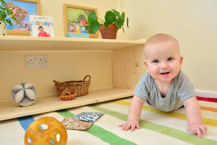 Low shelves at How we Montessori six months toys
