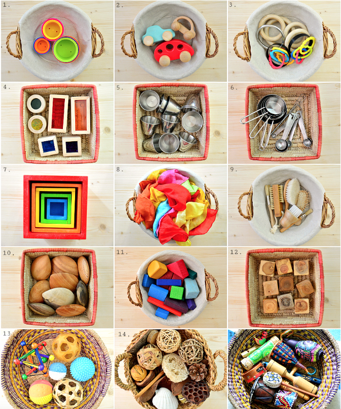 Loose parts baskets at 10 months at How we Montessori