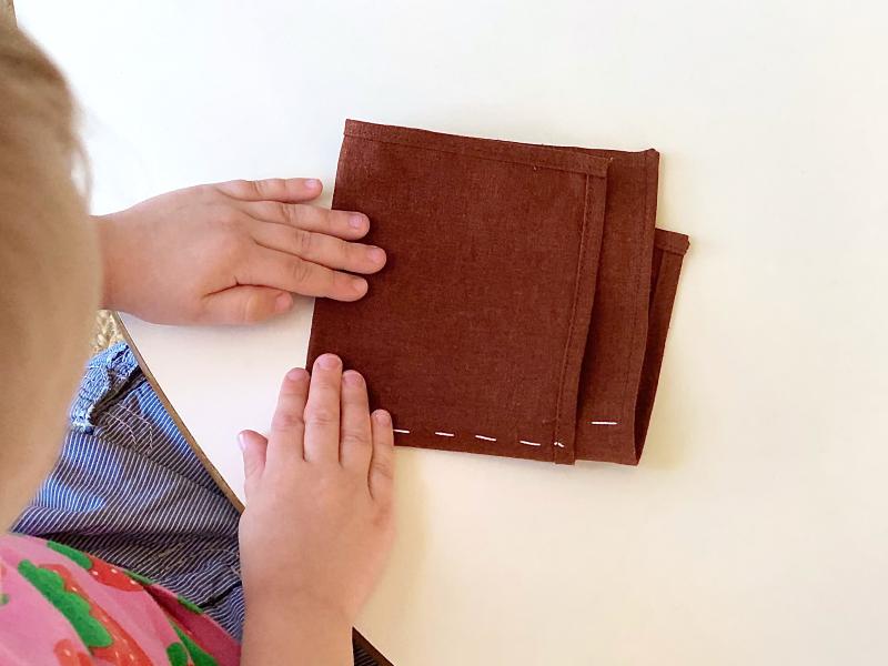 Montessori folding cloths  in quarters square at How we Montessori (1)