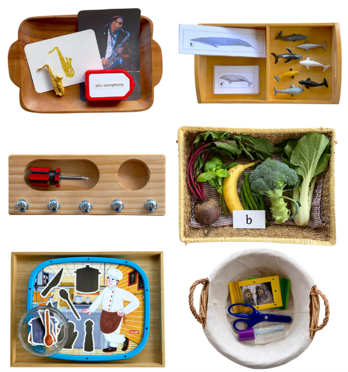 Montessori toddler toys and trays at How we Montessori Sydney two year old