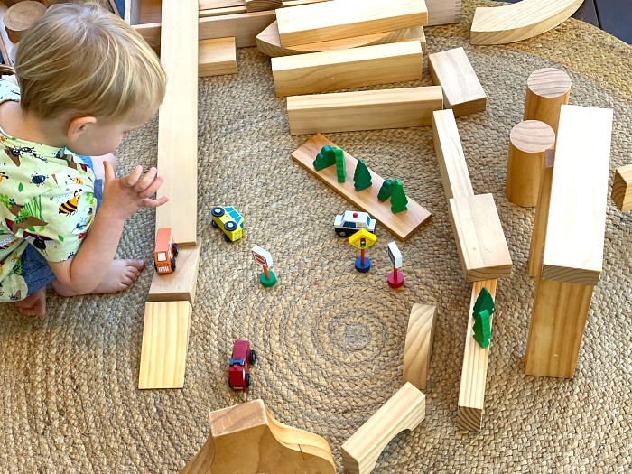 Stages of block play at How we Montessori toddler