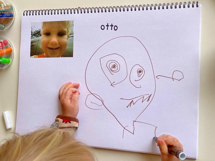 Otto self portrait at How we Montessori kids camera