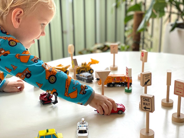 Car play with road signs at How we Montessori