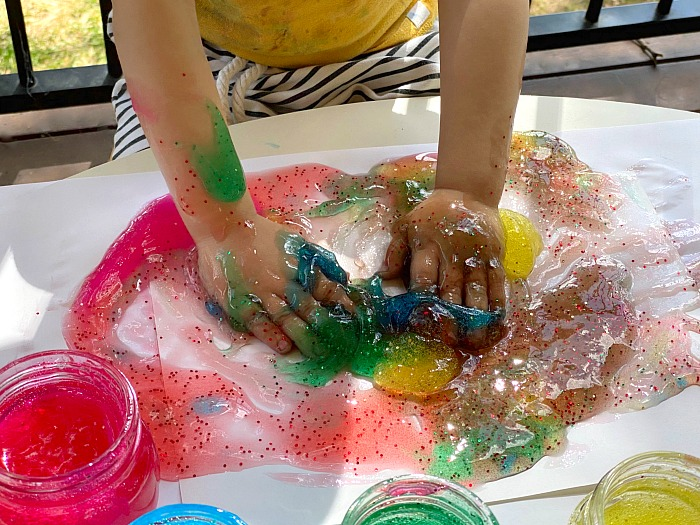 Gel finger paint at How we Montessori 202 Syndey toddler play