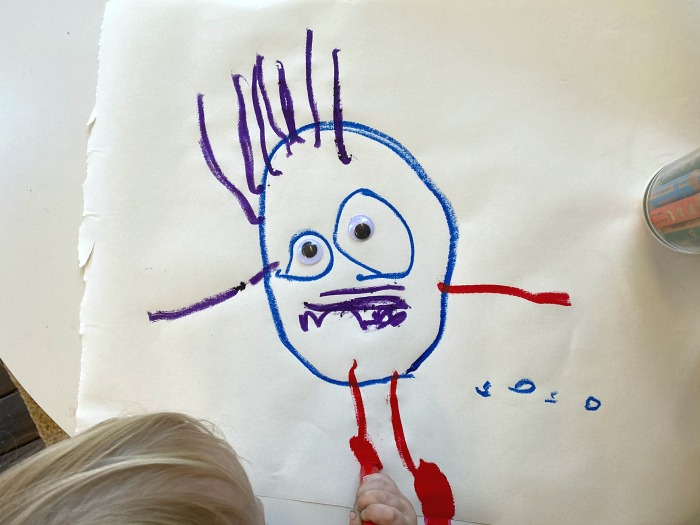 Otto at How we Montessori drawing at 37 months  drawing a ghost