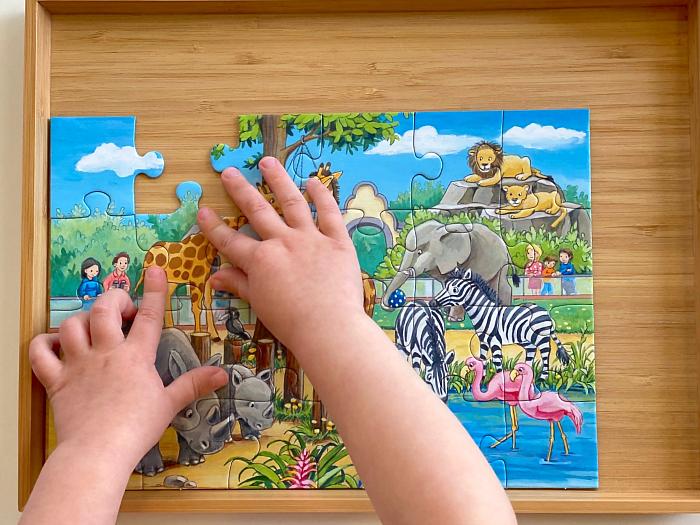 How we Montessori zoo puzzle three year old