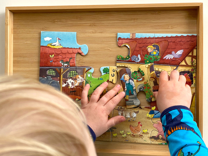 How we Montessori Farm Puzzle at three years