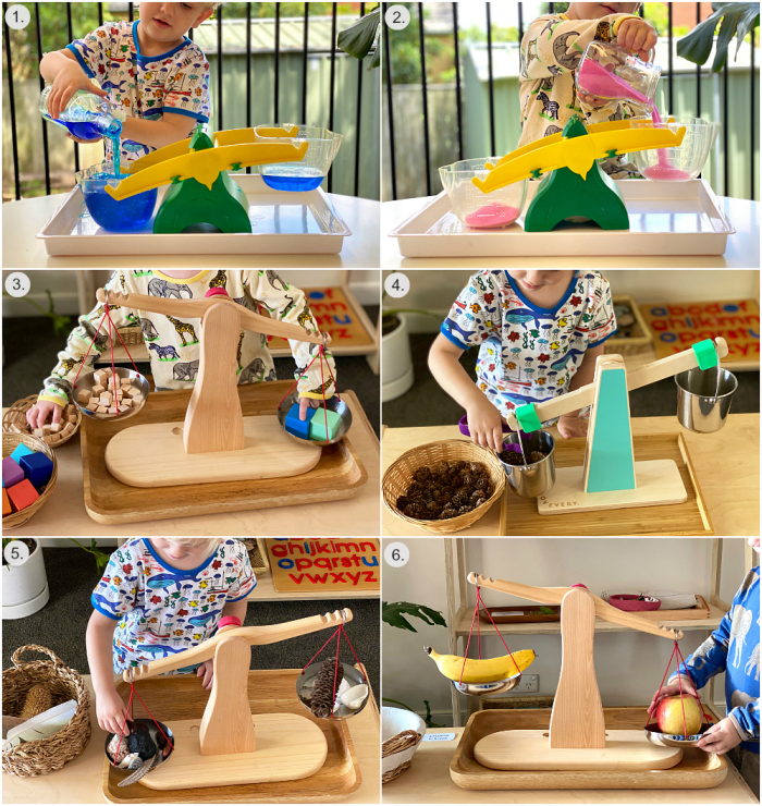 Scales and Balance Buckets at How we Montessori