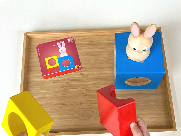 Peek a Boo Bunny at How we Montessori three year old cognitive development