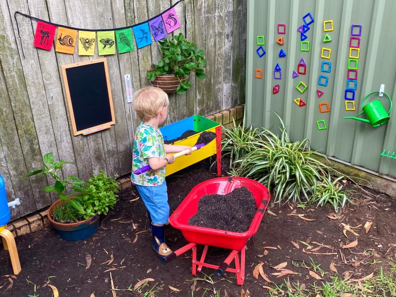 How we Montessori gardening area for Otto three years